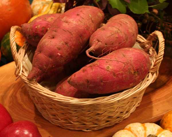 Japanese sweet potatoes have red skin and dry, white flesh. Roast these up with a few of your favorite root veggies for a colorful side dish.