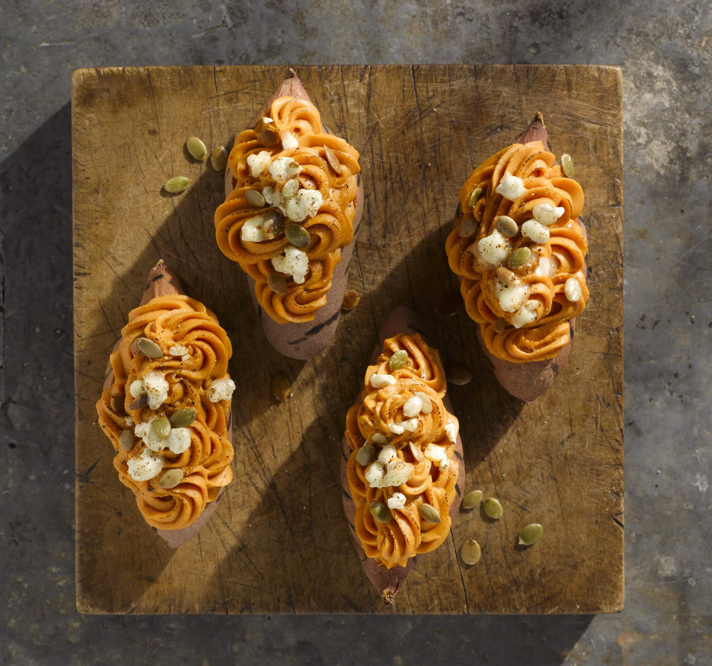 Chipotle Twice Baked Sweet Potatoes: Twice Baked Maple Chipotle Sweet Potatoes With Goat Cheese