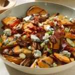 Grilled Sweet Potato Salad with Hot Bacon Dressing, Blue Cheese & Pecans