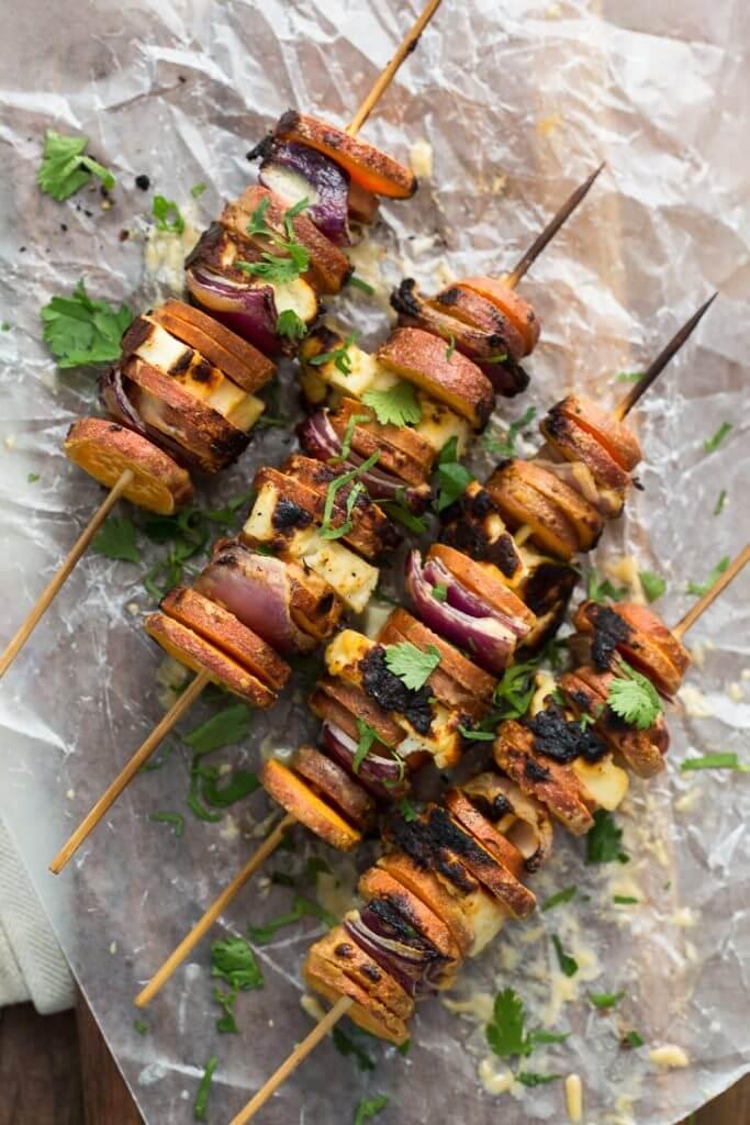 grilled-sriracha-tahini-sweet-potato-skewers-with-halloumi