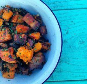 North Carolina Pork Belly and Sweet Potato Hash
